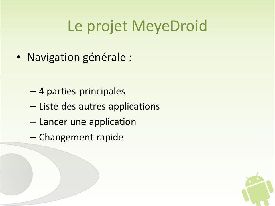 Le projet MeyeDroid Navigation générale : – 4 parties principales – Liste des autres applications – Lancer une application – Changement rapide