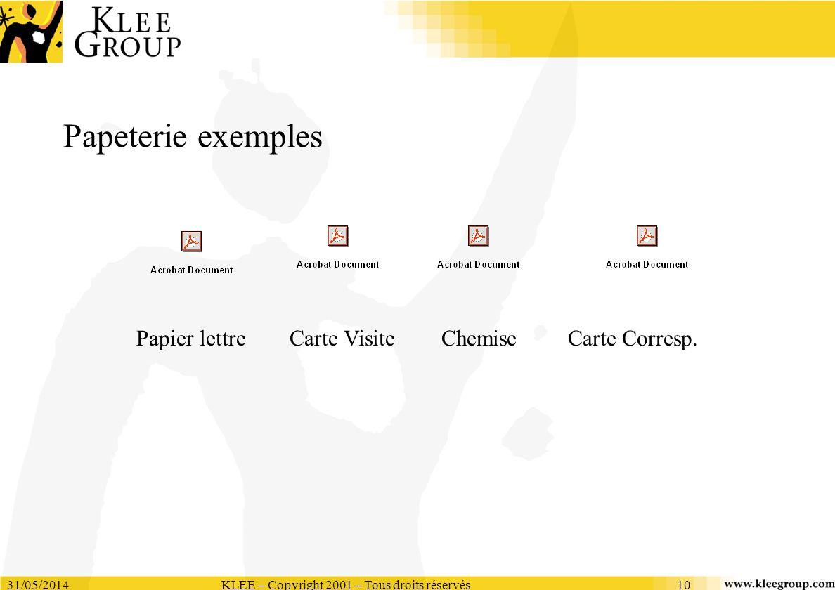31/05/2014KLEE – Copyright 2001 – Tous droits réservés10 Papeterie exemples Papier lettreChemiseCarte VisiteCarte Corresp.
