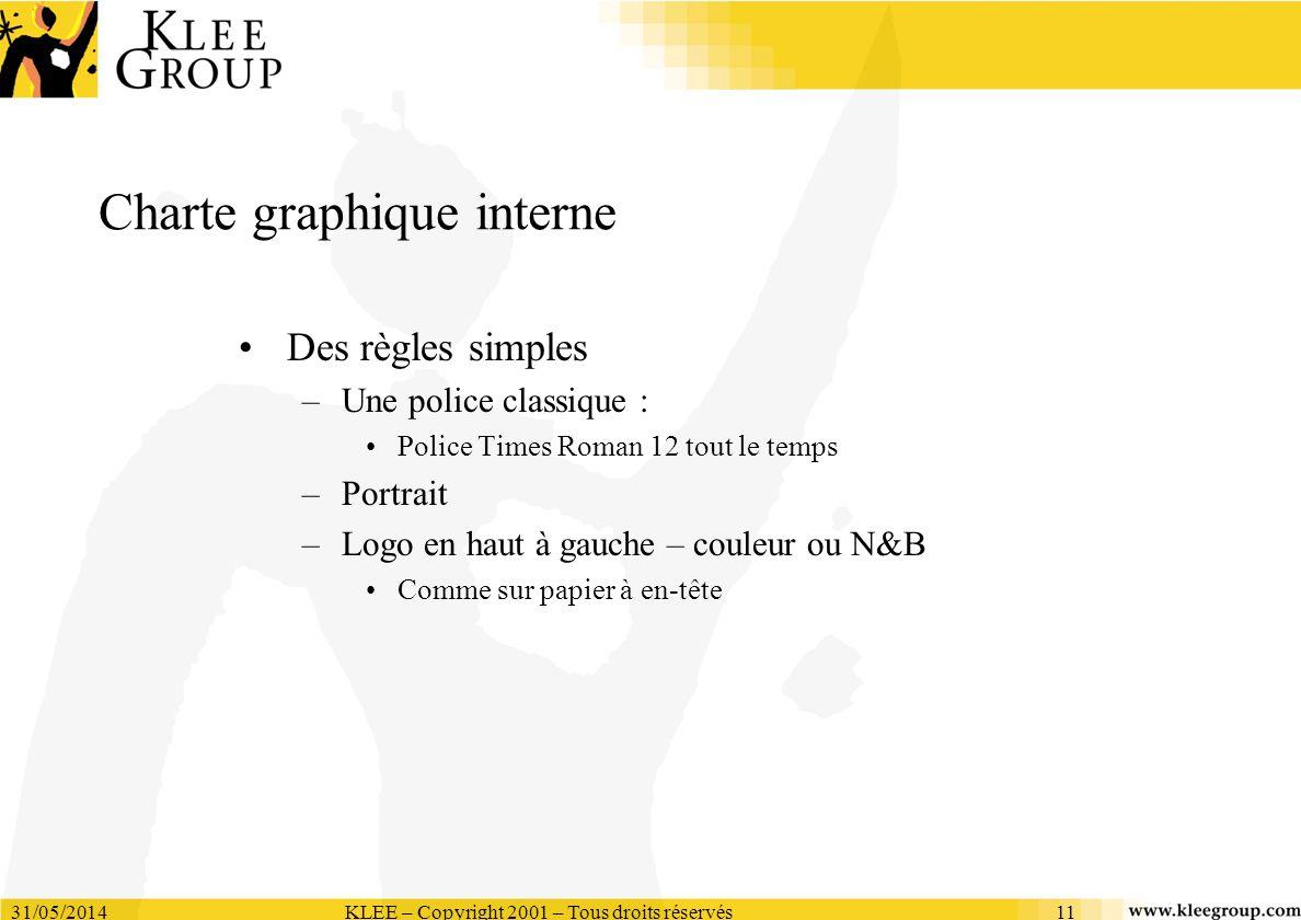 31/05/2014KLEE – Copyright 2001 – Tous droits réservés11 Charte graphique interne Des règles simples –Une police classique : Police Times Roman 12 tou