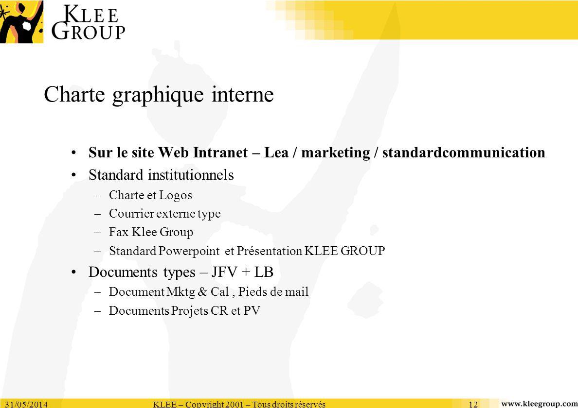 31/05/2014KLEE – Copyright 2001 – Tous droits réservés12 Charte graphique interne Sur le site Web Intranet – Lea / marketing / standardcommunication S
