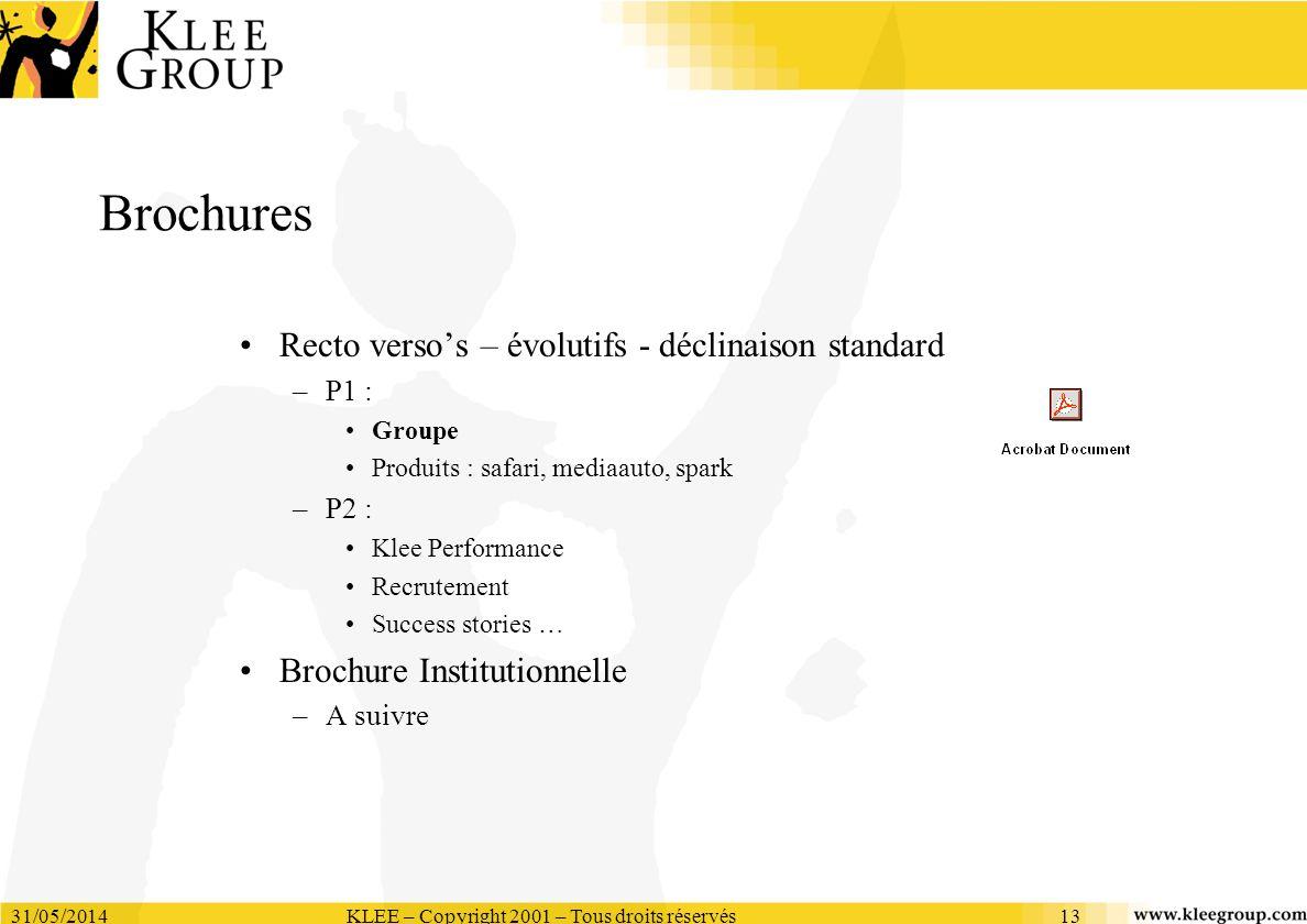 31/05/2014KLEE – Copyright 2001 – Tous droits réservés13 Brochures Recto versos – évolutifs - déclinaison standard –P1 : Groupe Produits : safari, med
