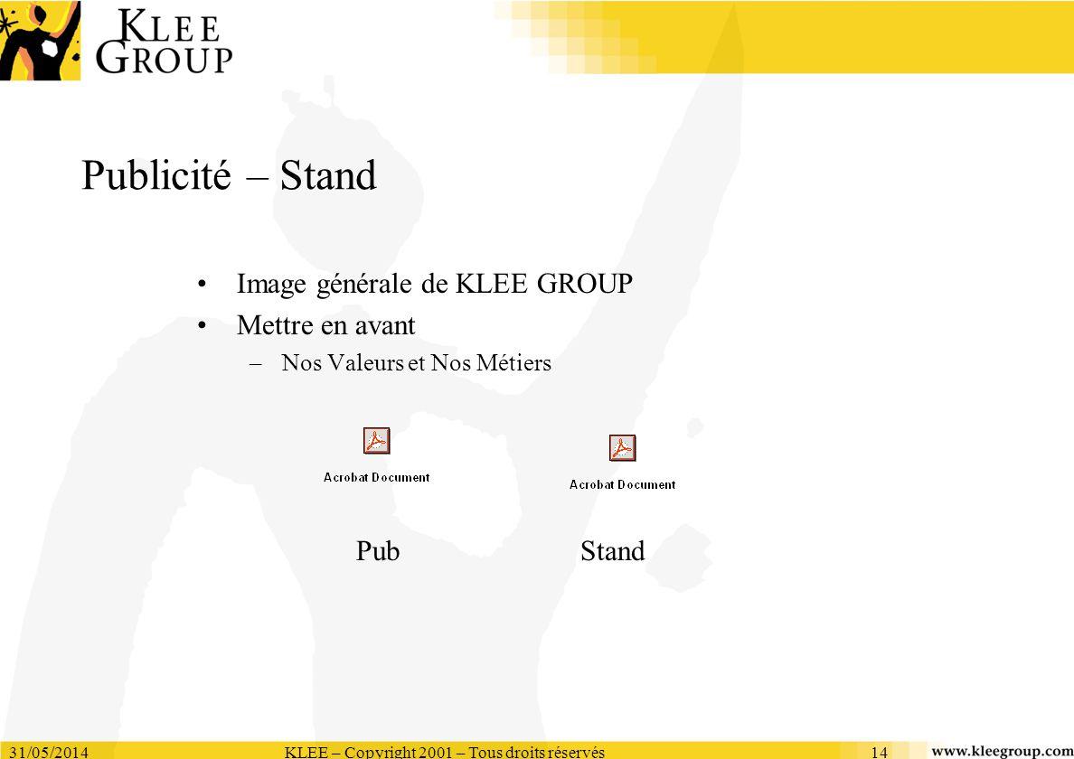 31/05/2014KLEE – Copyright 2001 – Tous droits réservés14 Publicité – Stand Image générale de KLEE GROUP Mettre en avant –Nos Valeurs et Nos Métiers Pu