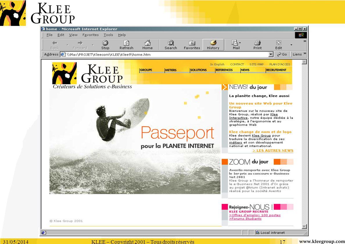 31/05/2014KLEE – Copyright 2001 – Tous droits réservés17