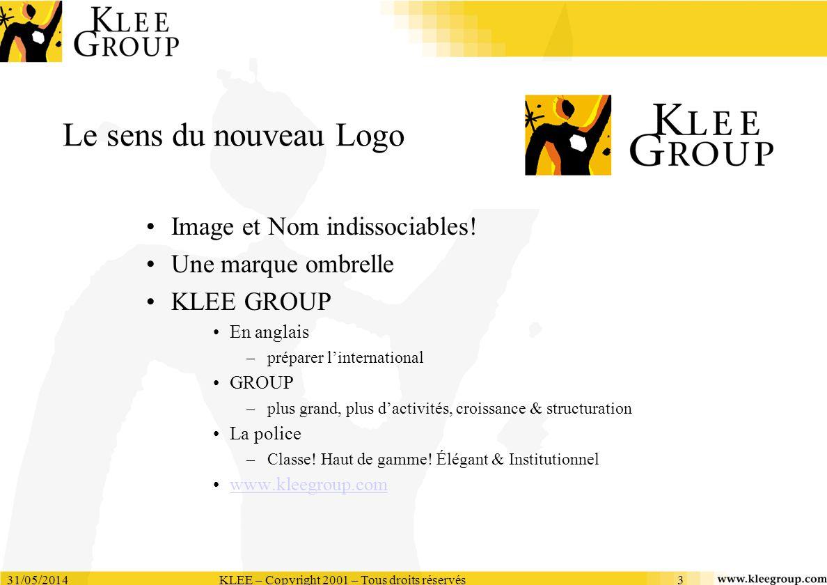 31/05/2014KLEE – Copyright 2001 – Tous droits réservés3 Le sens du nouveau Logo Image et Nom indissociables! Une marque ombrelle KLEE GROUP En anglais