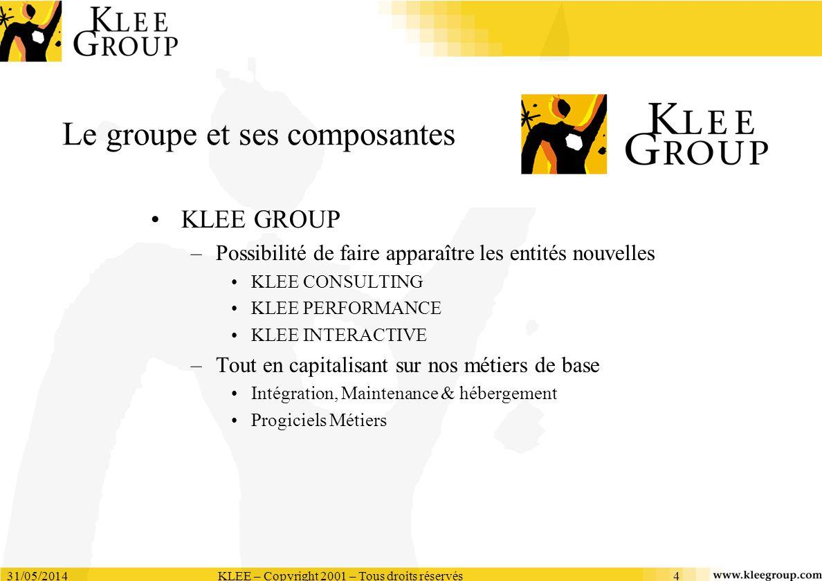 31/05/2014KLEE – Copyright 2001 – Tous droits réservés4 Le groupe et ses composantes KLEE GROUP –Possibilité de faire apparaître les entités nouvelles