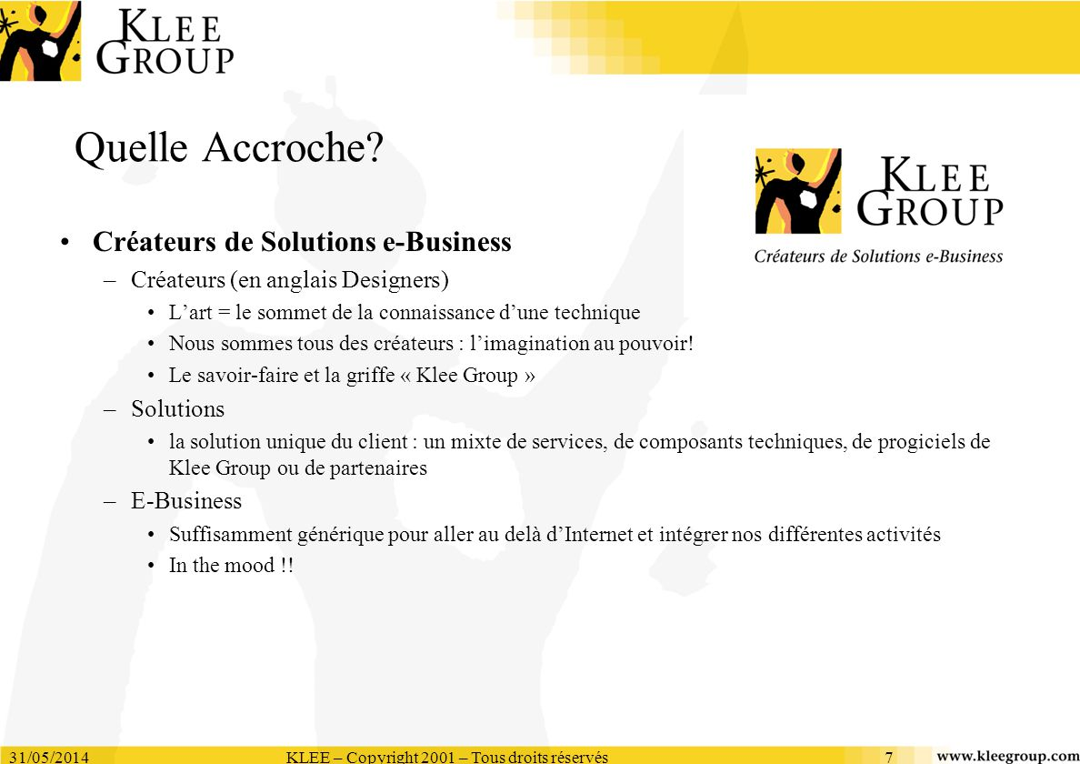31/05/2014KLEE – Copyright 2001 – Tous droits réservés7 Quelle Accroche? Créateurs de Solutions e-Business –Créateurs (en anglais Designers) Lart = le