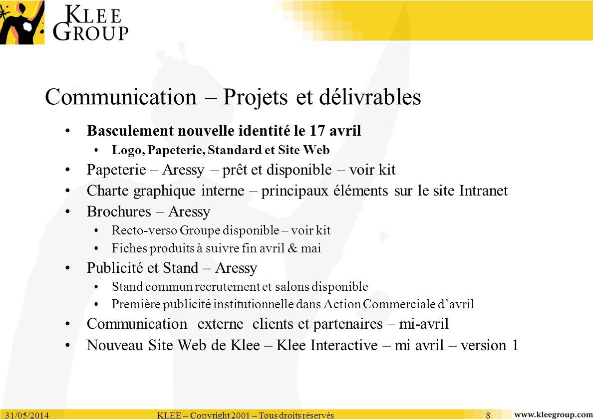 31/05/2014KLEE – Copyright 2001 – Tous droits réservés8 Communication – Projets et délivrables Basculement nouvelle identité le 17 avril Logo, Papeter