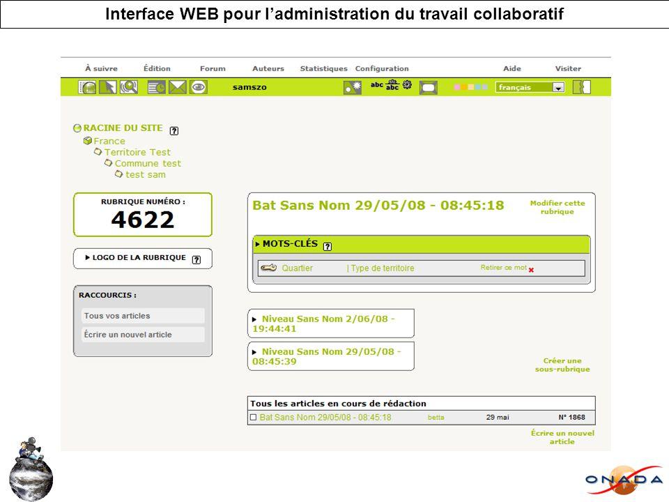 Interface WEB pour ladministration du travail collaboratif