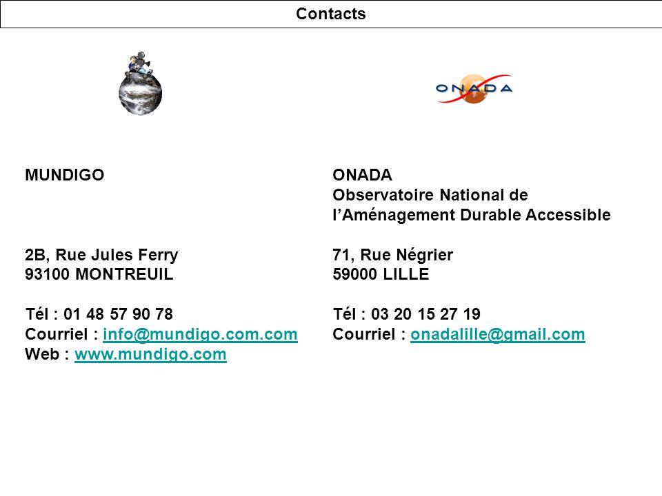 ONADA Observatoire National de lAménagement Durable Accessible 71, Rue Négrier 59000 LILLE Tél : 03 20 15 27 19 Courriel : onadalille@gmail.comonadalille@gmail.com Contacts MUNDIGO 2B, Rue Jules Ferry 93100 MONTREUIL Tél : 01 48 57 90 78 Courriel : info@mundigo.com.cominfo@mundigo.com.com Web : www.mundigo.comwww.mundigo.com
