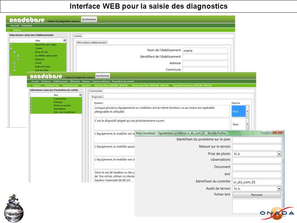 Interface WEB pour la saisie des diagnostics