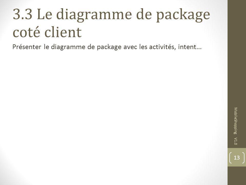 13 MobileShopping V1.0 3.3 Le diagramme de package coté client Présenter le diagramme de package avec les activités, intent...
