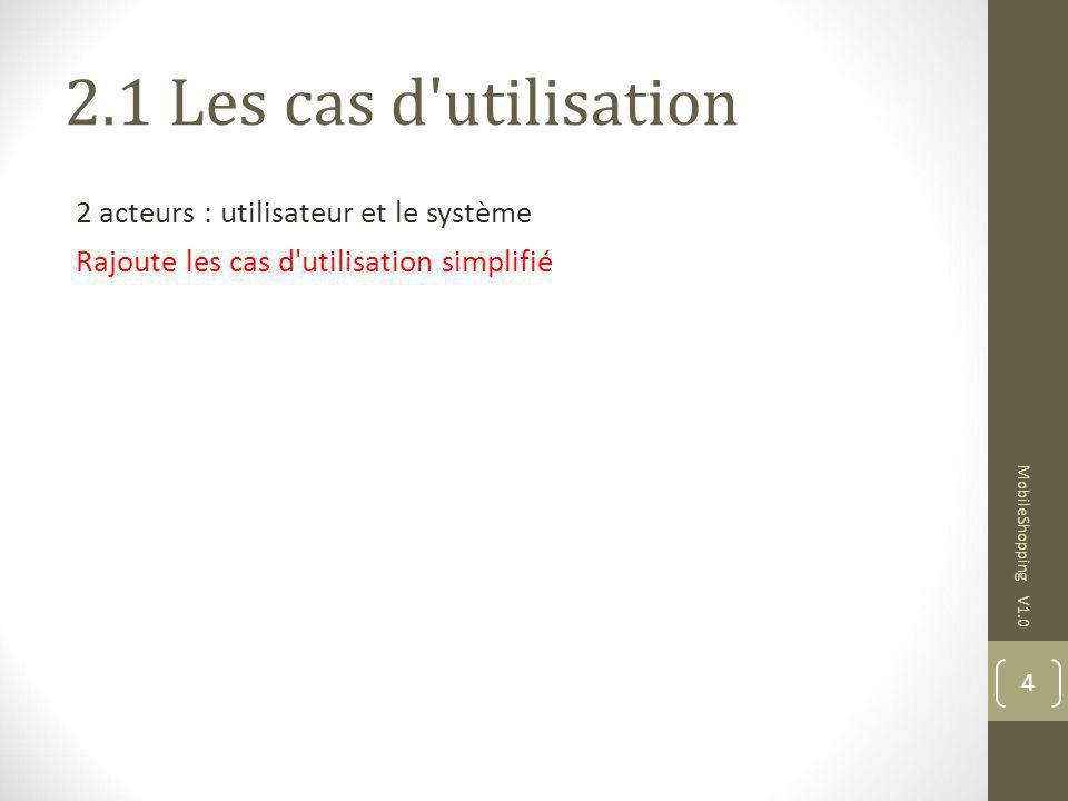 2.1 Les cas d'utilisation 2 acteurs : utilisateur et le système Rajoute les cas d'utilisation simplifié MobileShopping V1.0 4