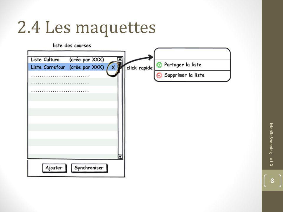 2.4 Les maquettes MobileShopping V1.0 9