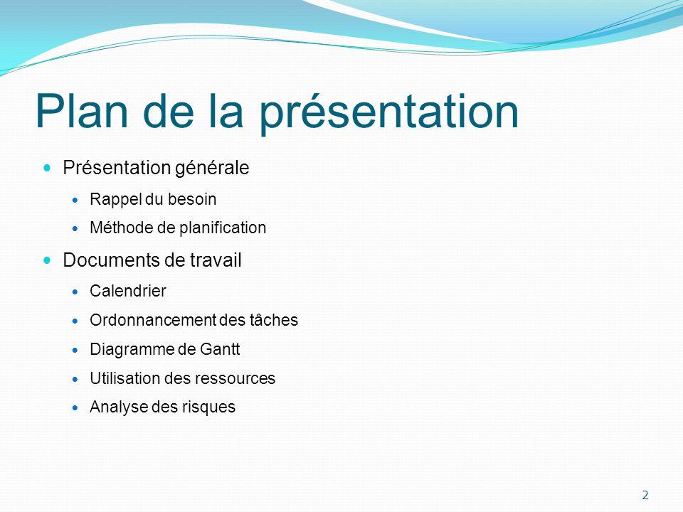 Plan de la présentation Présentation générale Rappel du besoin Méthode de planification Documents de travail Calendrier Ordonnancement des tâches Diag