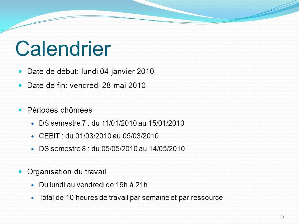 Calendrier Date de début: lundi 04 janvier 2010 Date de fin: vendredi 28 mai 2010 Périodes chômées DS semestre 7 : du 11/01/2010 au 15/01/2010 CEBIT :