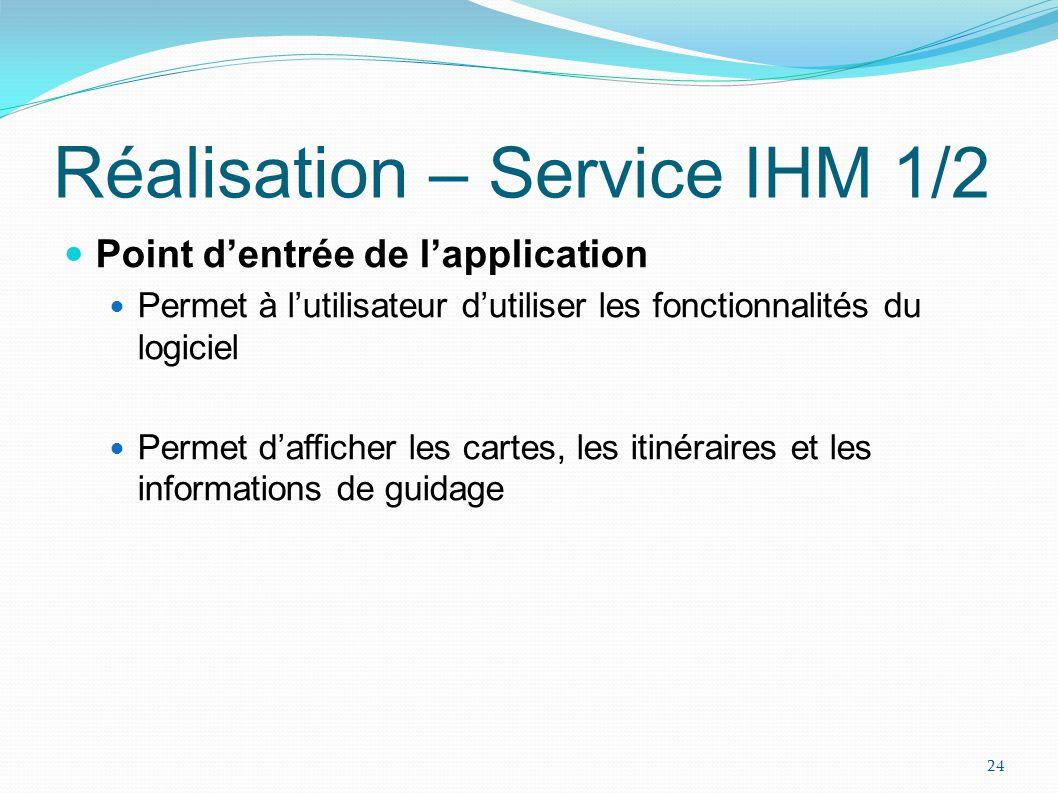 Réalisation – Service IHM 2/2 Vue du service IHM 25