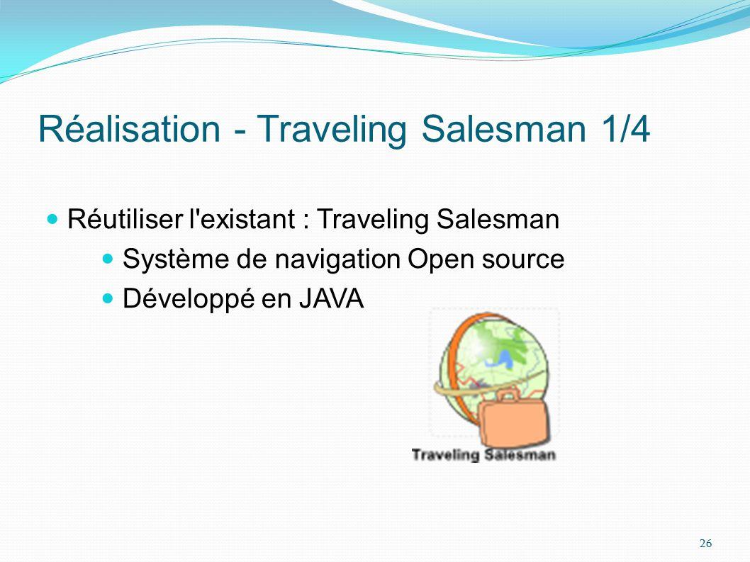Réalisation - Traveling Salesman 2/4 Objectif : greffer notre logiciel sur une instance de Traveling Salesman Problème : impossible de lancer Traveling Salesman à partir des sources Solution : récupérer les classes dont nous avons besoin 27