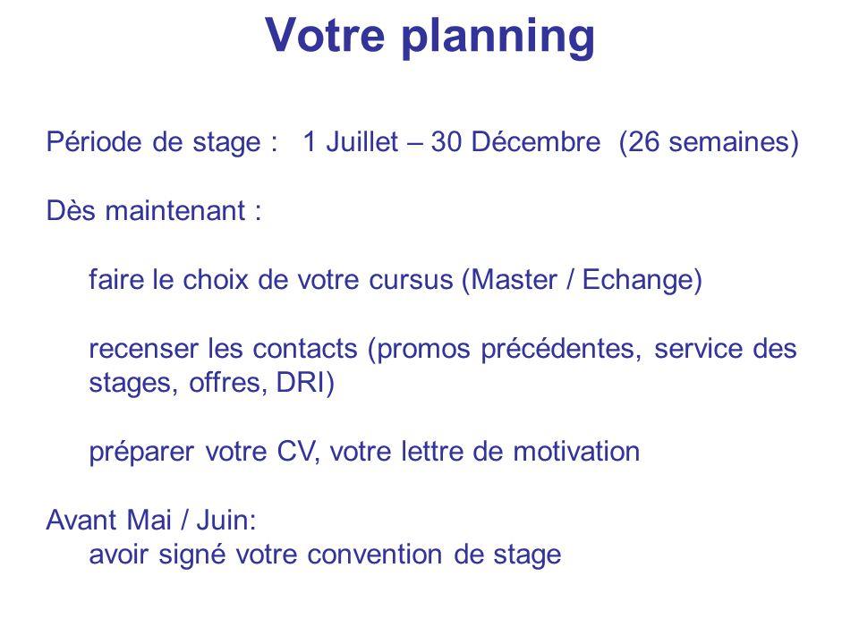 Votre planning Période de stage : 1 Juillet – 30 Décembre (26 semaines) Dès maintenant : faire le choix de votre cursus (Master / Echange) recenser le