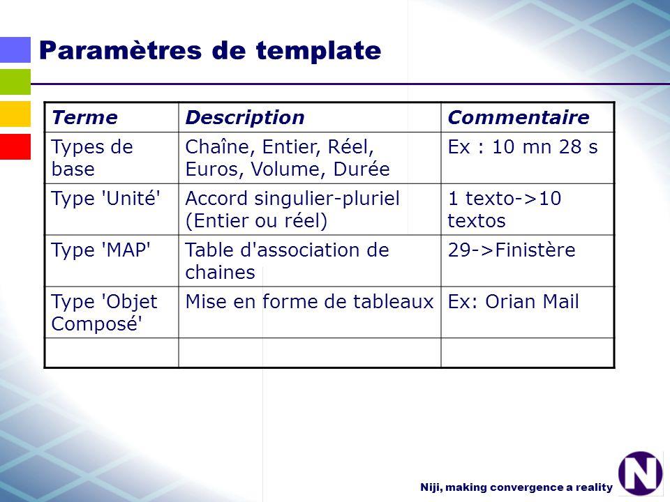 Niji, making convergence a reality Paramètres de template TermeDescriptionCommentaire Types de base Chaîne, Entier, Réel, Euros, Volume, Durée Ex : 10 mn 28 s Type Unité Accord singulier-pluriel (Entier ou réel) 1 texto->10 textos Type MAP Table d association de chaines 29->Finistère Type Objet Composé Mise en forme de tableauxEx: Orian Mail