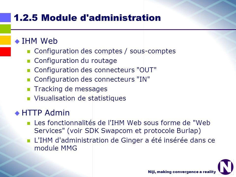Niji, making convergence a reality 1.2.5 Module d administration IHM Web Configuration des comptes / sous-comptes Configuration du routage Configuration des connecteurs OUT Configuration des connecteurs IN Tracking de messages Visualisation de statistiques HTTP Admin Les fonctionnalités de l IHM Web sous forme de Web Services (voir SDK Swapcom et protocole Burlap) L IHM d administration de Ginger a été insérée dans ce module MMG