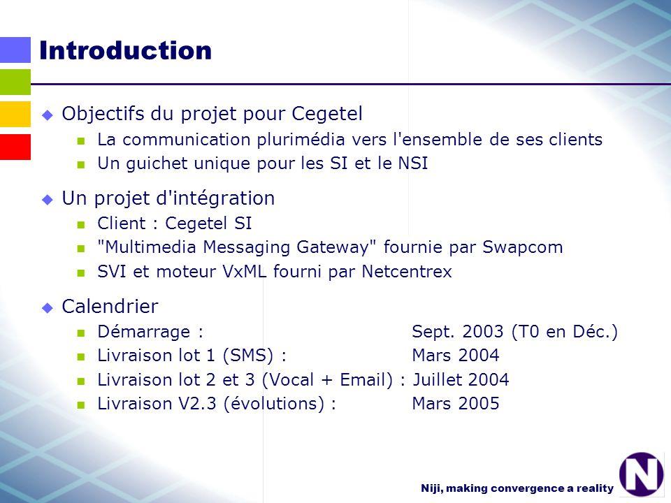 Niji, making convergence a reality CVS : Scripts et divers admgshell scripts d administration Ginger, du répertoire /product/ginger/ginger/bin bdscripts sql de gestion des bases de données GDM et MMG + dumps.tgz du SDK MMG pour la version en cours confenvironnements de conf GINGER pour les serveurs : DEV, PACK, PROD chez Cegetel, LOIFUSHI, QUIMPER, QUIMPER_REF chez Niji Niji scripts de generation des classes de la base scripts et conf pour la livraison SimGingerconf, scripts et classes du simulateur Ginger