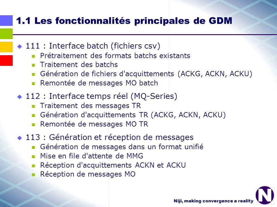 Niji, making convergence a reality 1.1.1 GDM : prétraitement des formats existants et traitement des batchs