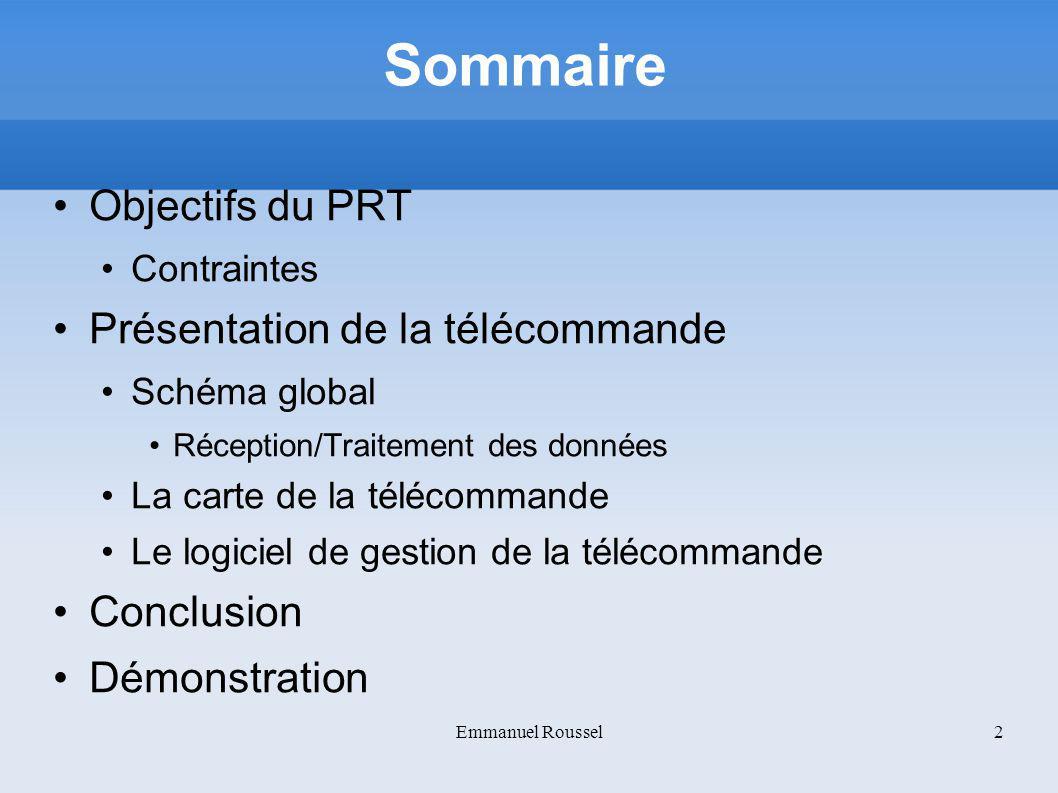 Sommaire Objectifs du PRT Contraintes Présentation de la télécommande Schéma global Réception/Traitement des données La carte de la télécommande Le lo