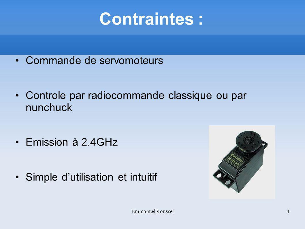 Contraintes : Commande de servomoteurs Controle par radiocommande classique ou par nunchuck Emission à 2.4GHz Simple dutilisation et intuitif Emmanuel