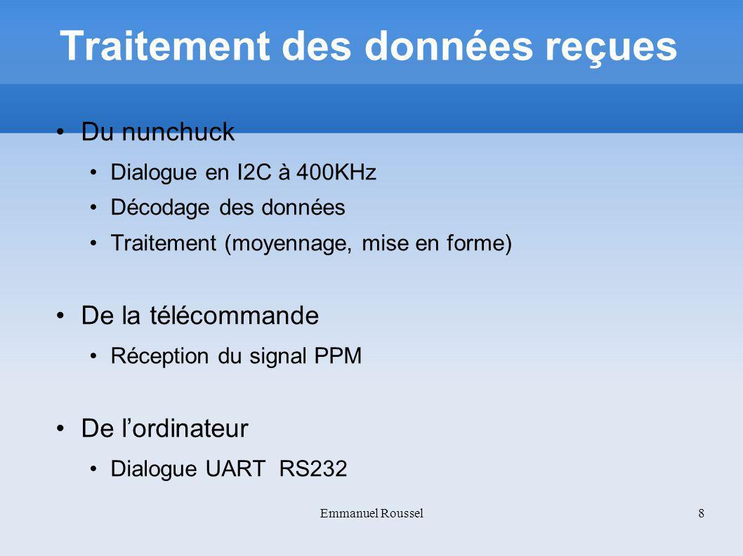 Envoi des données A lordinateur (UART) Trame contenant les informations sur le nunchuck Au récepteur sur le drone (sans fil à 2.4GHz) Mode manuel : Trame contenant les données converties de la radiocommande Mode semi-automatique : Trame contenant les données mises en forme du nunchuck.