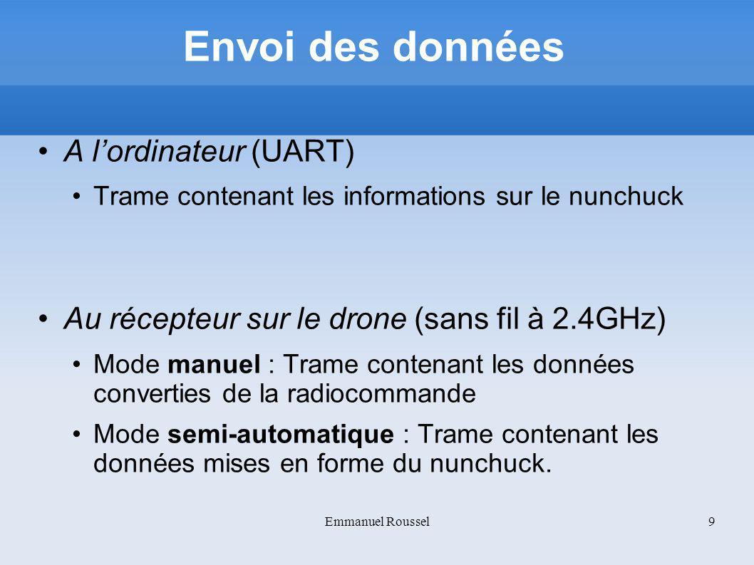 Envoi des données A lordinateur (UART) Trame contenant les informations sur le nunchuck Au récepteur sur le drone (sans fil à 2.4GHz) Mode manuel : Tr