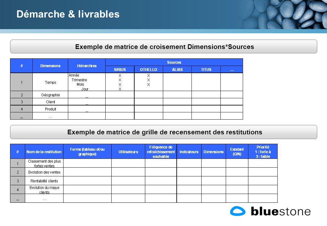 Exemple de matrice de croisement Dimensions*Sources Démarche & livrables Exemple de matrice de grille de recensement des restitutions