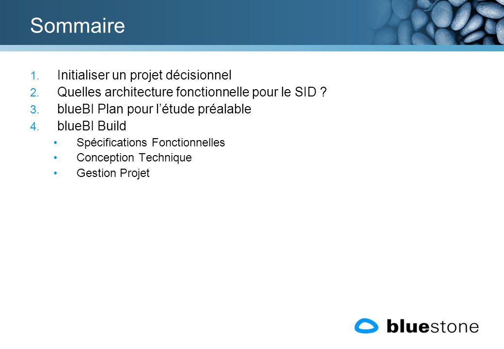 Sommaire 1. Initialiser un projet décisionnel 2. Quelles architecture fonctionnelle pour le SID ? 3. blueBI Plan pour létude préalable 4. blueBI Build