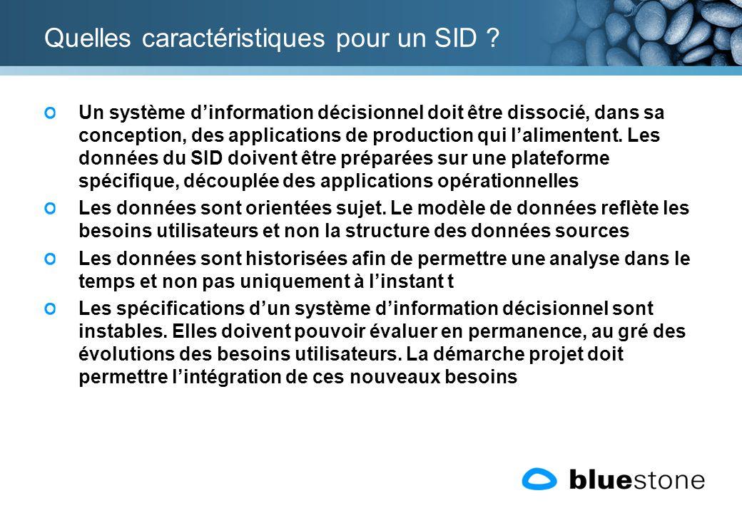 Quelles caractéristiques pour un SID ? Un système dinformation décisionnel doit être dissocié, dans sa conception, des applications de production qui