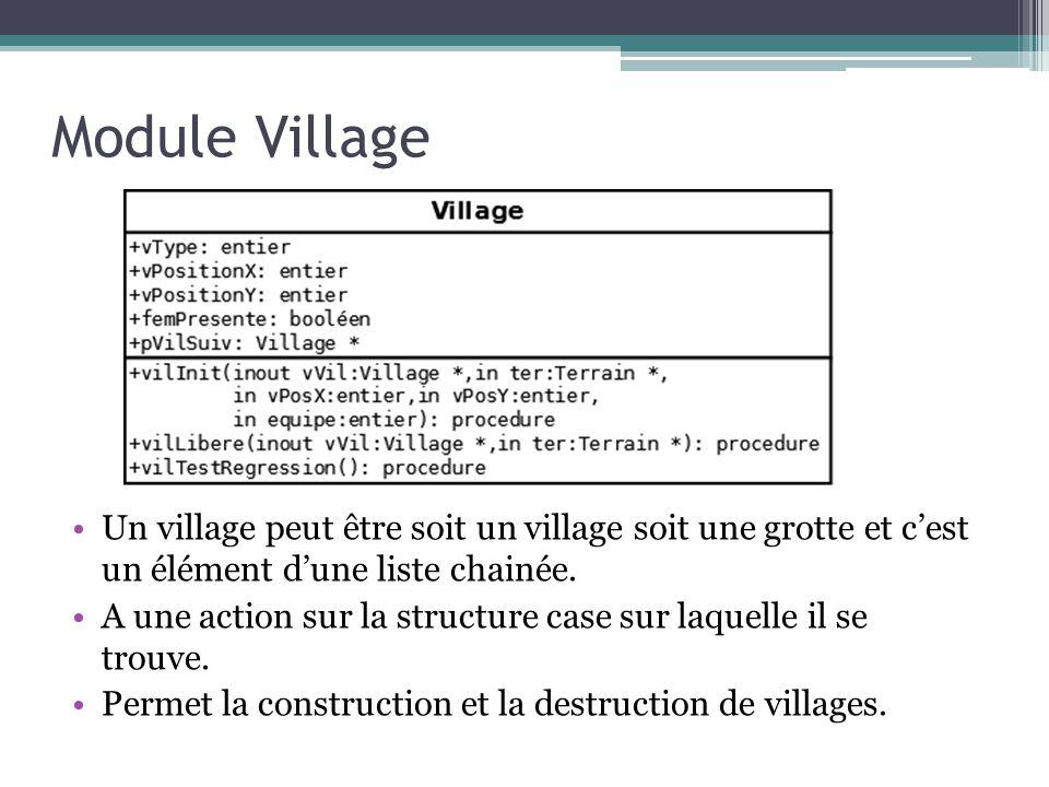 Module Village Un village peut être soit un village soit une grotte et cest un élément dune liste chainée. A une action sur la structure case sur laqu