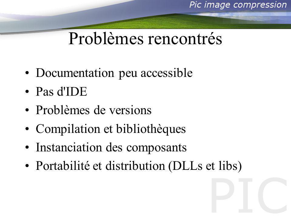 Problèmes rencontrés Documentation peu accessible Pas d IDE Problèmes de versions Compilation et bibliothèques Instanciation des composants Portabilité et distribution (DLLs et libs)