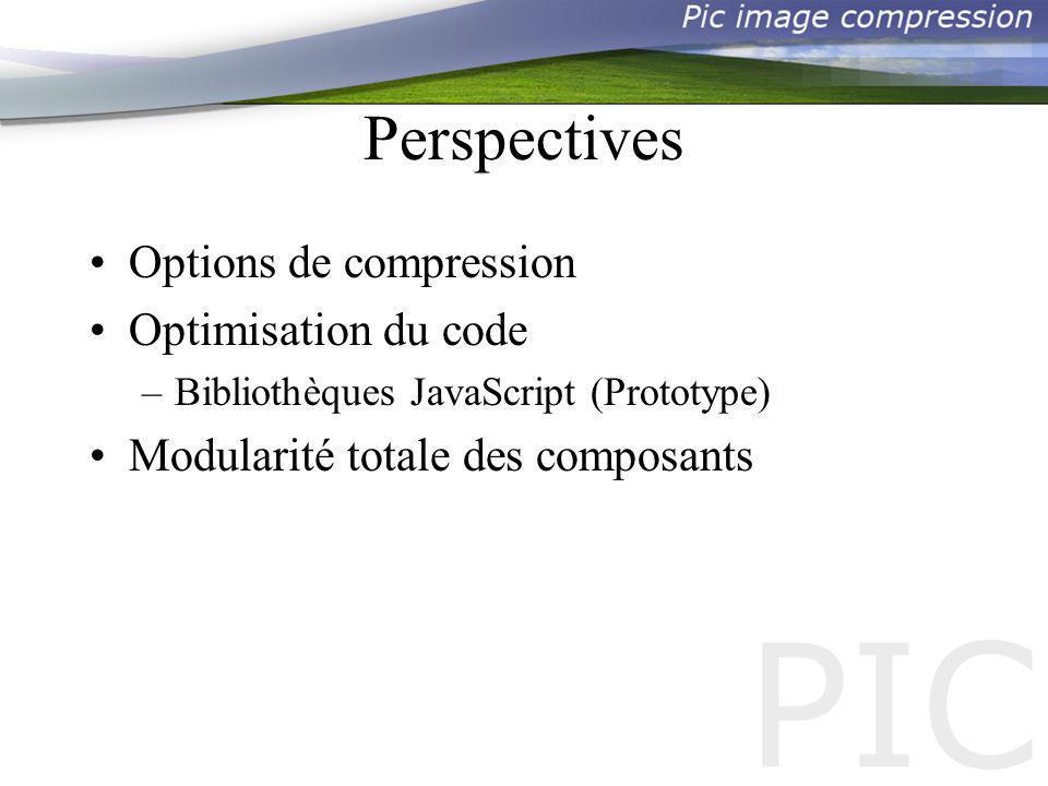 Perspectives Options de compression Optimisation du code –Bibliothèques JavaScript (Prototype) Modularité totale des composants