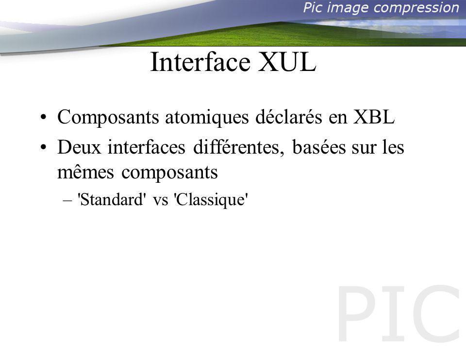 Composants XPCOM Pourquoi un composant XPCOM : –Javascript très limité –Décomposer les fonctionnalités en composants –Faire appel à des bibliothèques existantes En dautre termes : saffranchir des limites du XUL+JS