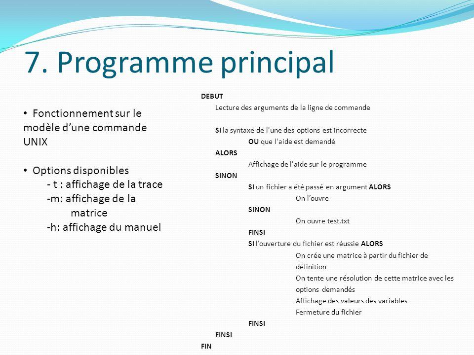 7. Programme principal DEBUT Lecture des arguments de la ligne de commande SI la syntaxe de l'une des options est incorrecte OU que l'aide est demandé