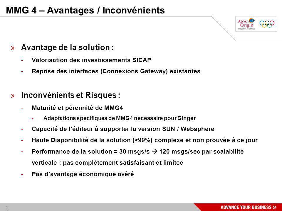 11 MMG 4 – Avantages / Inconvénients »Avantage de la solution : -Valorisation des investissements SICAP -Reprise des interfaces (Connexions Gateway) e