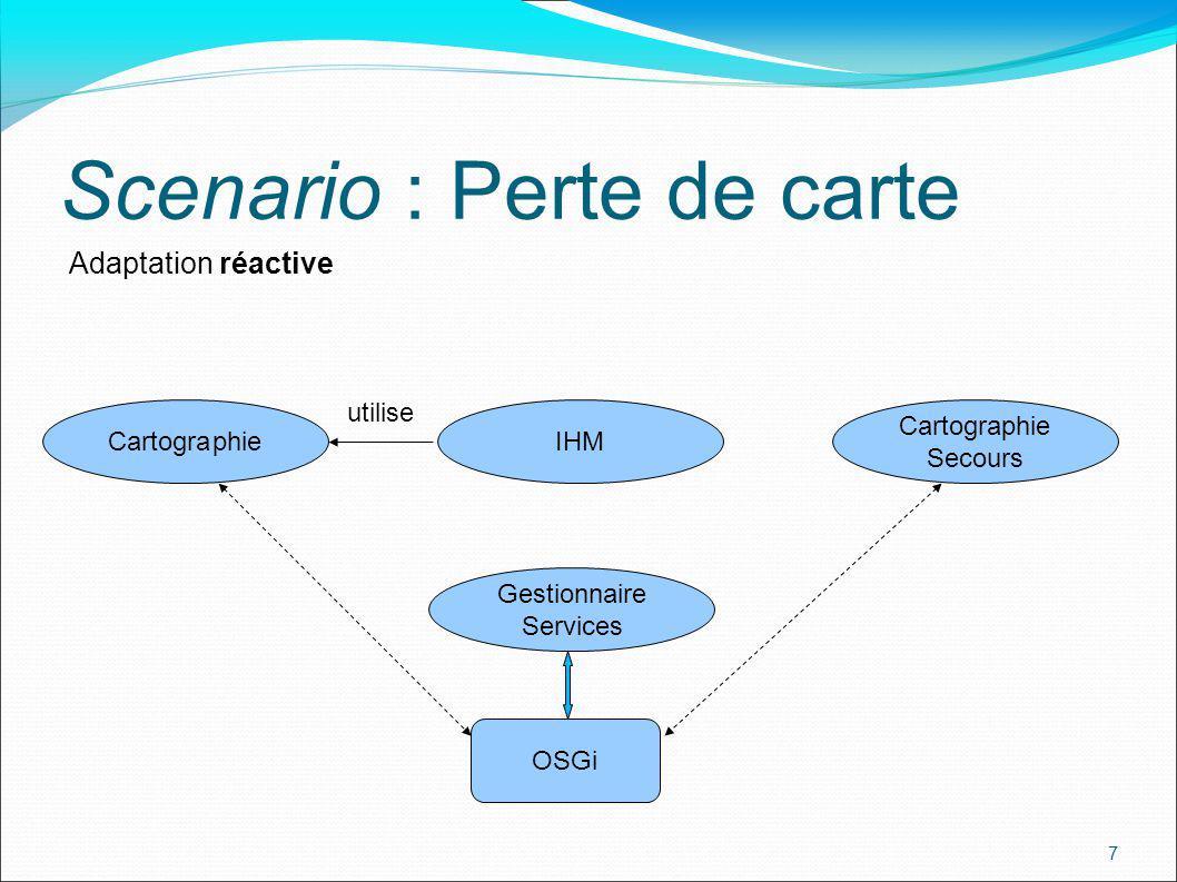 8 Scenario : Perte de carte modification dépendance événement arrêt service Adaptation réactive Cartographie utilise IHM Cartographie Secours OSGi Gestionnaire Services