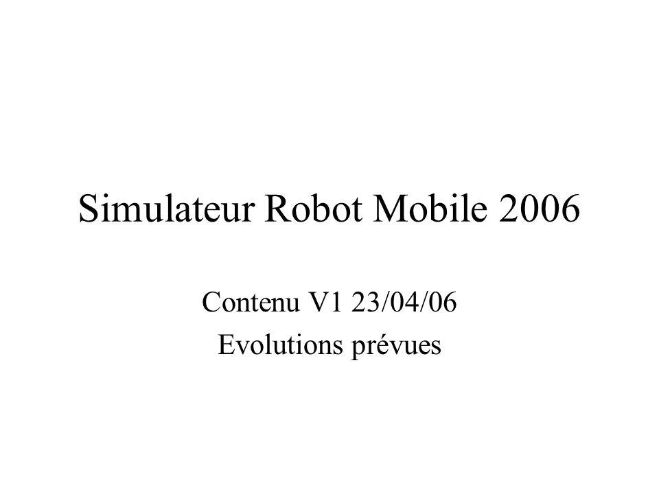 Simulateur Robot Mobile 2006 Contenu V1 23/04/06 Evolutions prévues