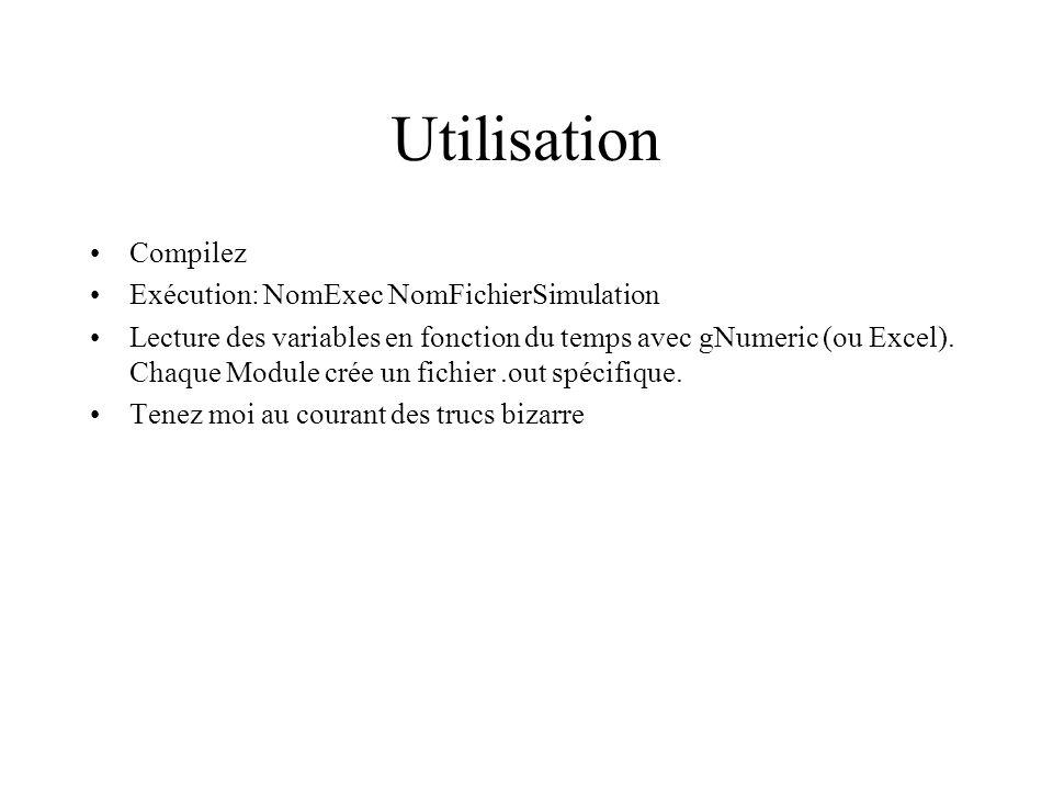 Utilisation Compilez Exécution: NomExec NomFichierSimulation Lecture des variables en fonction du temps avec gNumeric (ou Excel).