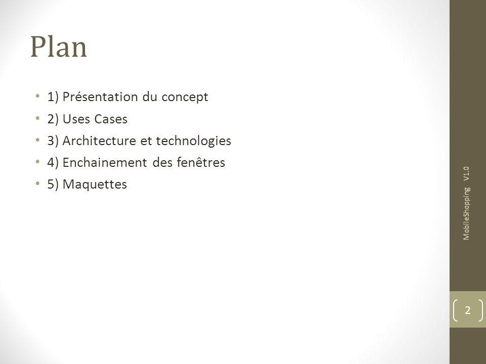 Plan 1) Présentation du concept 2) Uses Cases 3) Architecture et technologies 4) Enchainement des fenêtres 5) Maquettes MobileShopping V1.0 2