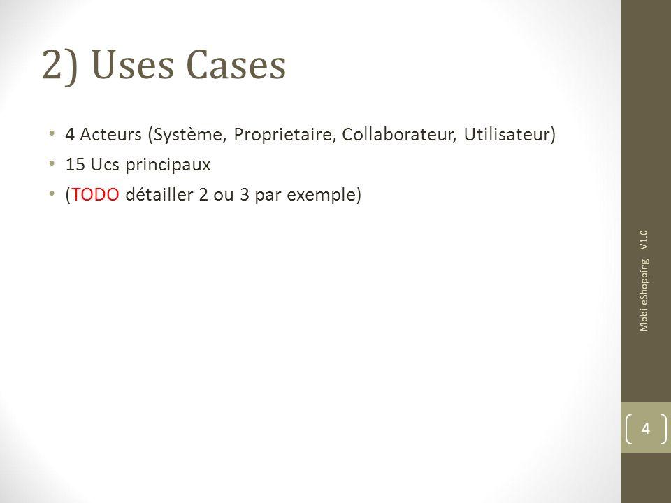 2) Uses Cases 4 Acteurs (Système, Proprietaire, Collaborateur, Utilisateur) 15 Ucs principaux (TODO détailler 2 ou 3 par exemple) MobileShopping V1.0