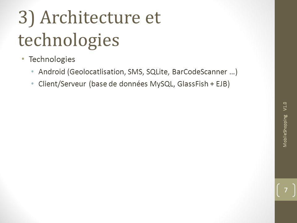 3) Architecture et technologies Technologies Android (Geolocatlisation, SMS, SQLite, BarCodeScanner …) Client/Serveur (base de données MySQL, GlassFish + EJB) MobileShopping V1.0 7