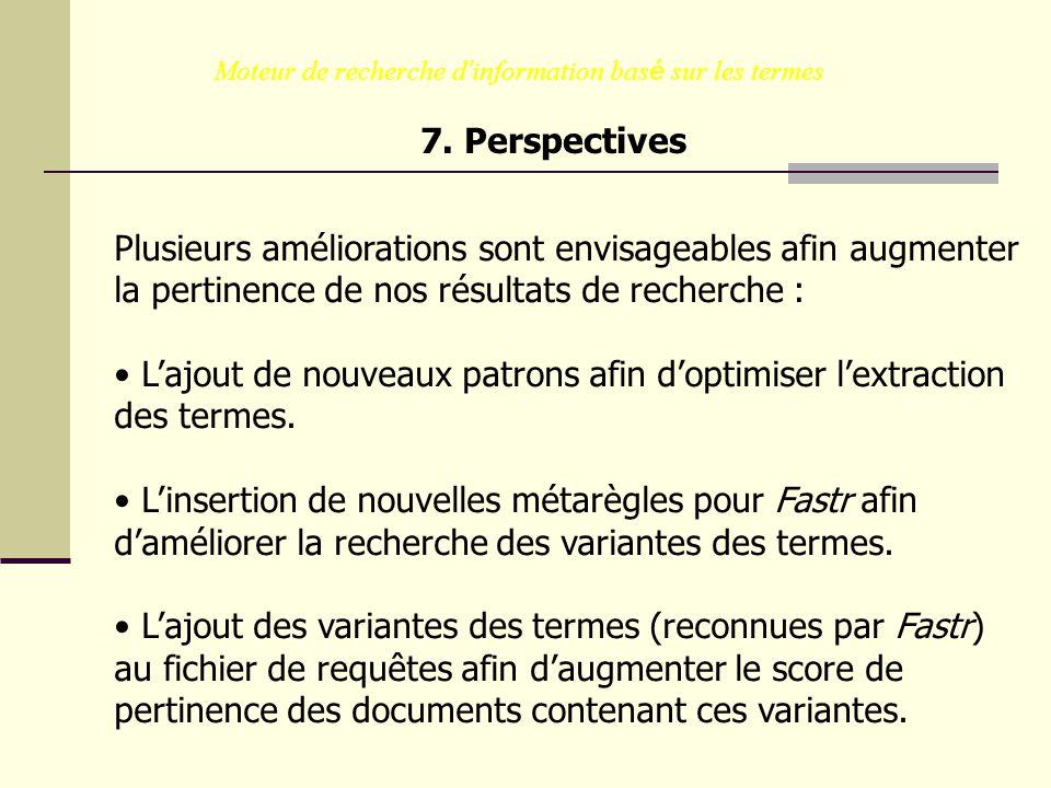 Moteur de recherche d information bas é sur les termes 7. Perspectives Plusieurs améliorations sont envisageables afin augmenter la pertinence de nos