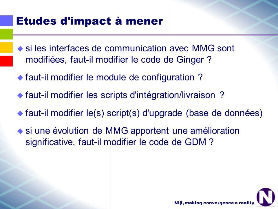 Niji, making convergence a reality Etudes d impact à mener si les interfaces de communication avec MMG sont modifiées, faut-il modifier le code de Ginger .
