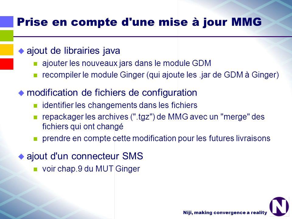 Niji, making convergence a reality Prise en compte d une mise à jour MMG ajout de librairies java ajouter les nouveaux jars dans le module GDM recompiler le module Ginger (qui ajoute les.jar de GDM à Ginger) modification de fichiers de configuration identifier les changements dans les fichiers repackager les archives ( .tgz ) de MMG avec un merge des fichiers qui ont changé prendre en compte cette modification pour les futures livraisons ajout d un connecteur SMS voir chap.9 du MUT Ginger