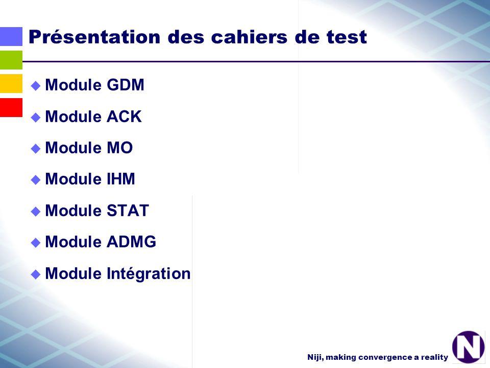 Niji, making convergence a reality Choix des tests à passer pour une modification majeure tous sauf certains tests ADMG pour une version mineures ou un patch tous les tests du module concerné par la modification quelques tests de bon fonctionnement pour les modules