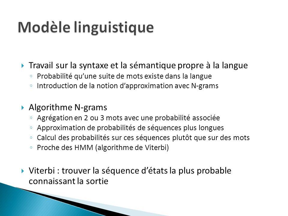 Travail sur la syntaxe et la sémantique propre à la langue Probabilité quune suite de mots existe dans la langue Introduction de la notion dapproximat